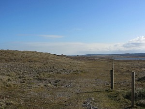 The barren landscape on Cley