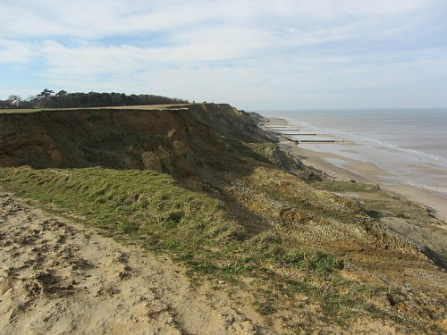 Coastal erosion along the cliffs on the Norfolk Coast Path