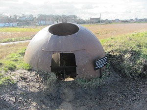 WWII gun turret on the Norfolk Coast Path near Cley beach