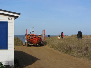 The RNLI practising at Old Hunstanton