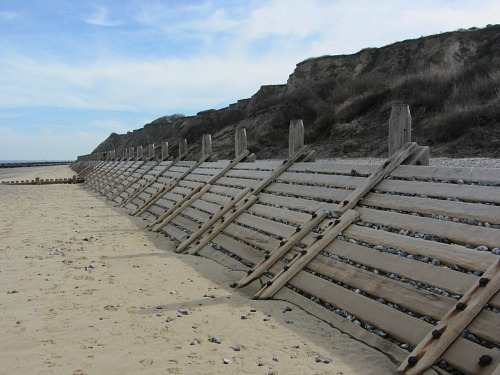 The sea defences approaching Overstrand beach