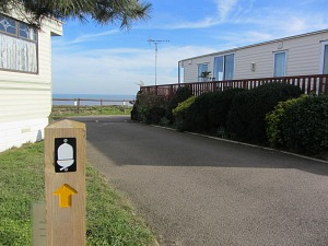 National Trails signpost in the caravan park