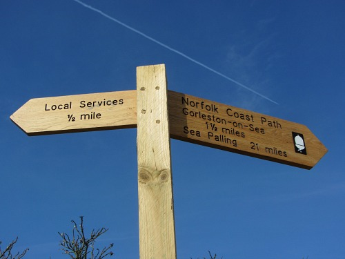 The end of the Norfolk Coast Path at Hopton-on-Sea