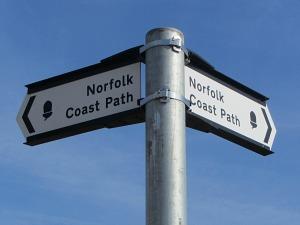 Norfolk Coast Path metal waymarkers in Gt Yarmouth