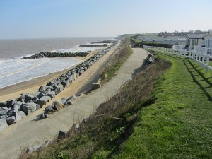 Nearing the end of the Norfolk Coast Path on the alternative beach at high tide