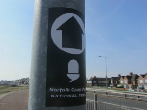 NCP waymarker sticker on a lamp post in Gt Yarmouth