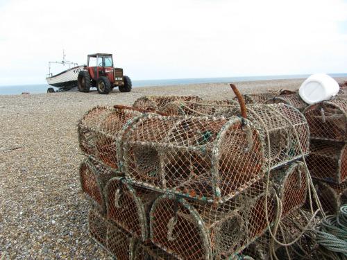 Cley Beach lobster pots