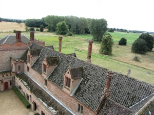 The grounds of Oxburgh Hall from the roof