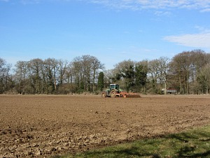Fields being drilled along the Peddars Way National Trail