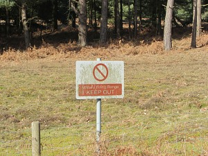 MOD keep out notices along the Peddars Way