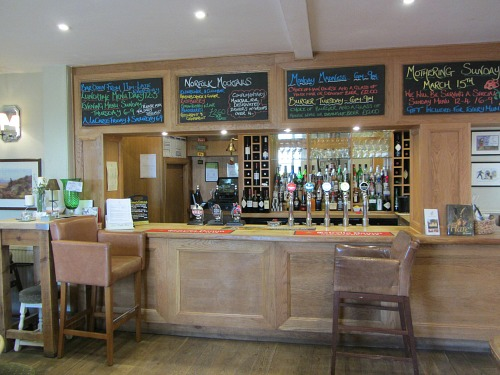 The bar at the Bedingfeld Arms