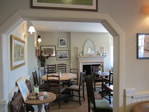 Light and airy dining room at the Bedingfeld Arms Oxborough