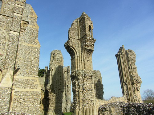The exterior column ruins of Binham Priory, Norfolk