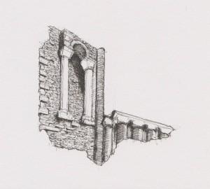 The architecture on Binham Priory ruins
