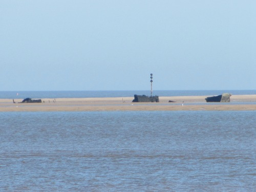 The shipwreck at Brancaster Beach which you can see at low tide