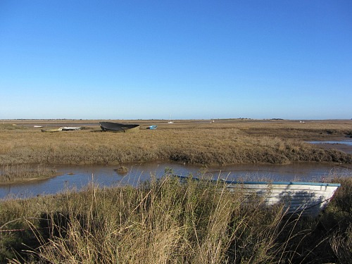The view out to the marshes at Brancaster Staithe Norfolk