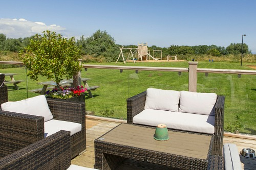 The decking/terrace at Briarfields Hotel