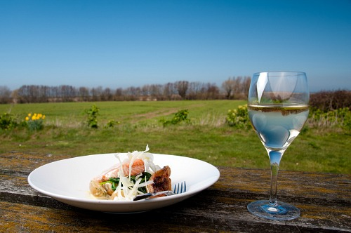 Enjoy a glass of wine and something to eat overlooking the wonderful views at Briarfields