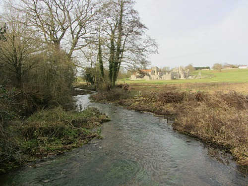 Castle Acre Priory overlooking the River Nar
