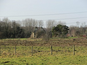 West Acre Priory in the distance