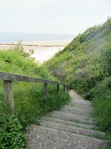 Steps down towards the beach from Cromer Lighthouse