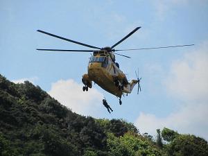 Air Rescue practicsing near Cromer Lighthouse