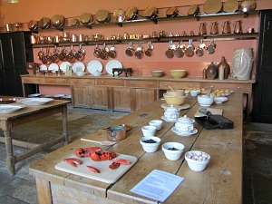 Brass pots and pans in the kitchen at Felbrigg Hall