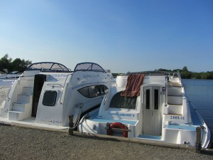 Modern fibreglass pleasure boats on the Norfolk Broads