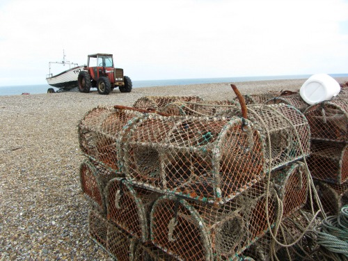 Lobster pots on Cley beach