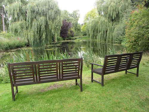 Lots of benches around Gooderstone Water Gardens