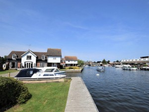 Herons Quay on the water's edge at Wroxham in the Norfolk Broads