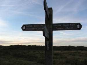 Holme Dunes Norfolk Coast Path signpost