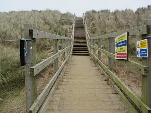The steps to the seal viewing platform at Horsey Gap