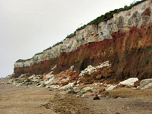 The three tiered cliff face at Hunstanton with obvious erosion