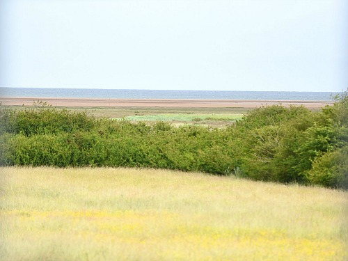 The view of the marshes from one of the rooms at the Lifeboat Inn, Thornham, Norfolk