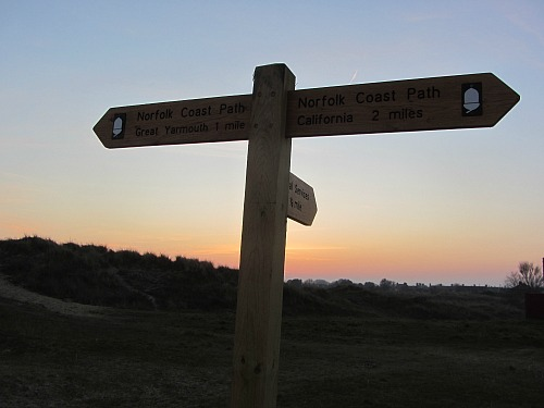 The beautiful sunset in Caister at the end of the day's walk along the Norfolk Coast Path