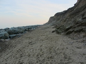 As the tide was in I had to walk underneath the cliff face
