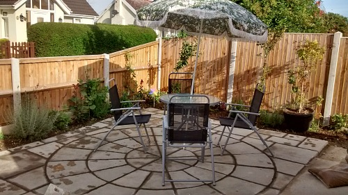 Part of the back garden with it's patio
