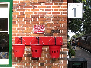 Fire buckets at Holt station