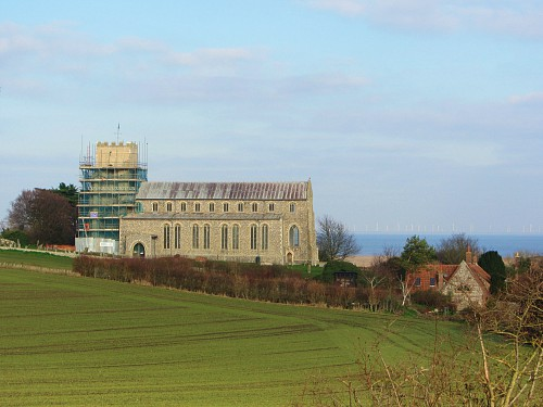 Salthouse church and the sea beyond