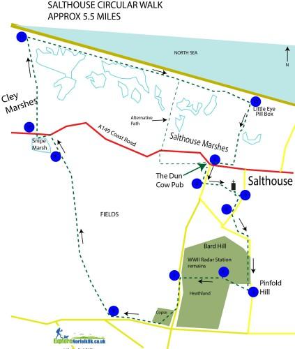 Map of the Salthouse Circular walk