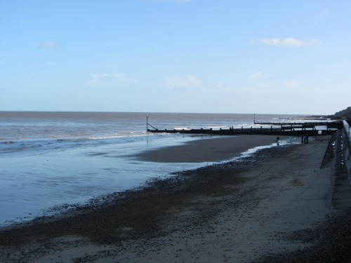 Tide going out at Sheringham beach