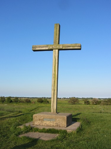 The oak cross at St Benet's Abbey, Norfolk Broads