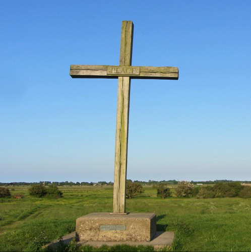 The oak cross at St Benet's Abbey made from wood at Sandringham