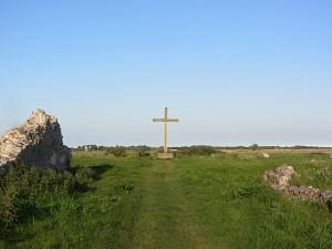 The oak cross overlooking the landscape