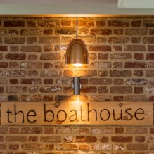 The boathouse sign in the restaurant