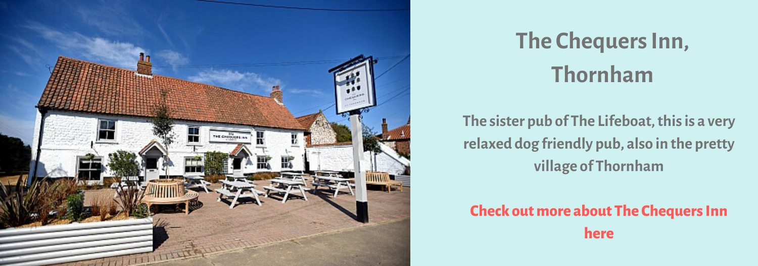The Chequers Inn at Thornham is right on the Norfolk Coast Path.  Stop by for a drink and a bite to eat!