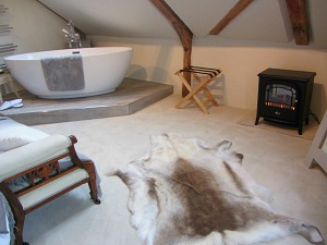 The free standing bath and electric log burner in the bedroom