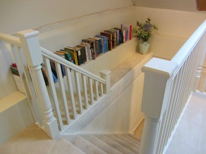 The stairs with lots of books to read!