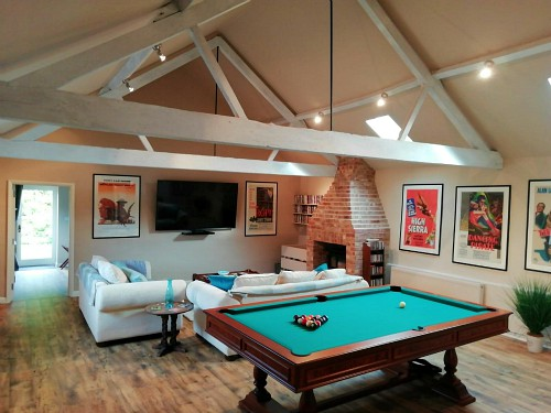 The interior living space of The Old Tractor Barn